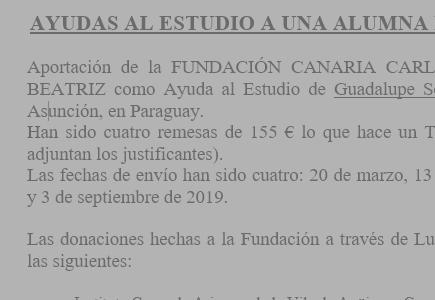Ayuda para el estudio a una alumna de Paraguay